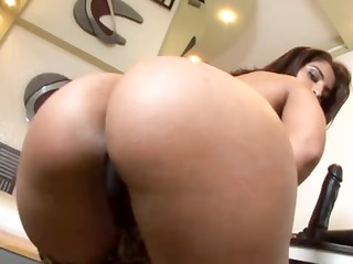 excited brunette hair takes off her leopard skin