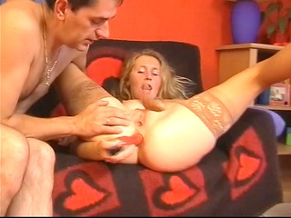 lad and sextoy assist hotty cum
