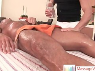 fellow getting welcome surprise when massaged by