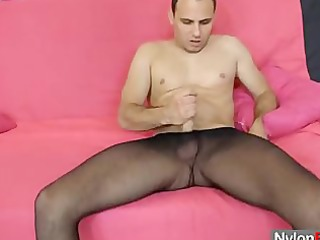 perverted gay guy in nylon tights rubs to cum