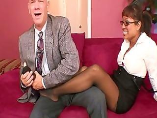 breasty secretary takes bosses coc...