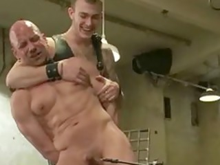 Pair of tied sweet men submit to perversions in