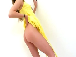 graceful golden-haired with red anal toy