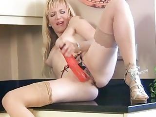 anilos masturbation in kitchen