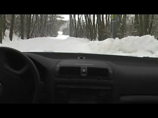sexy cum in cold snow