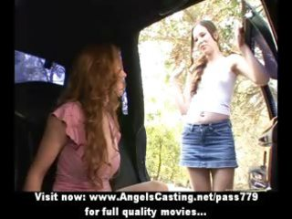 redhead lesbo vamp and cute hitchhiker undressing