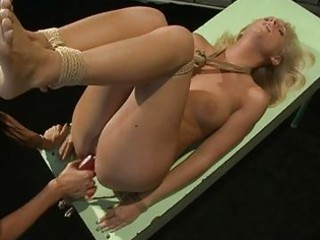 whorish blond acquires turned on by being bound