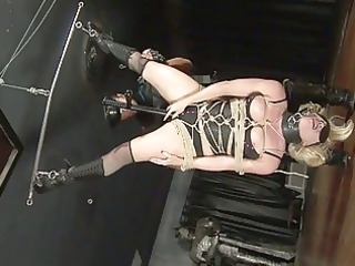 Amateur sex movie with a blonde bondage babe and