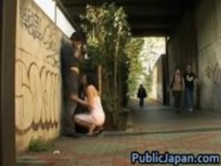 oriental model has hardcore sex in public 9