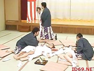 japanese sweethearts team-fucked on the floor