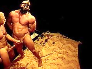 squeezing and punching giant bodybuilders balls.
