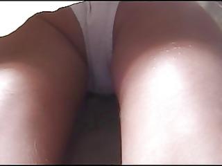 gals upskirt white cotton pants md