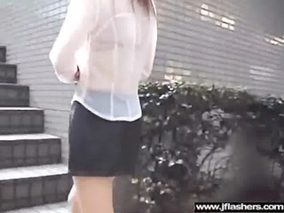 oriental chick cutie flashing in public and team