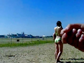 jerking on beach with cumshot. russian