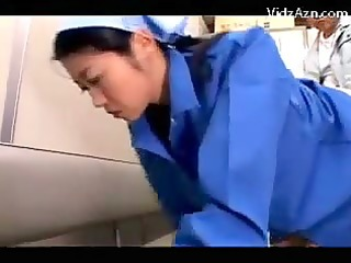 cleaning lady in uniform getting her body breasts