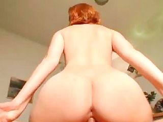 large arse redhead sweetheart rides huge piece of
