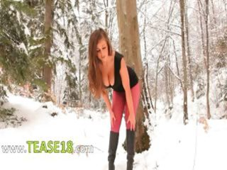red nylon hose in winter forest