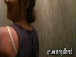 cute girlfriend horny by stripping and engulfing