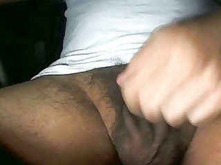 playing with my balls and soft uncut cock