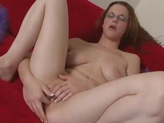 sexy hotty with glasses masturbating