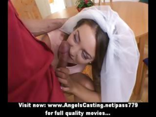 little dark brown bride does oral sex and has wet