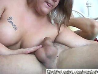 charming blond big beautiful woman enjoys a hard