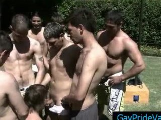 large homosexual porn team fuck at the pool