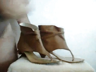 shoefuck and cum with ally sandal-boot