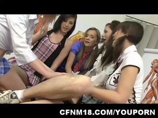 2 angry and bossy schoolgirls abase their teacher
