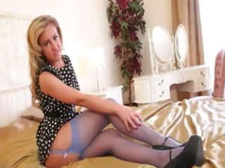 blue stockings and dark shoes pose