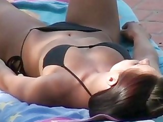 hawt hottie in bikini spied on and facialed