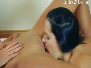 sweet lesbians fucking with black dildo