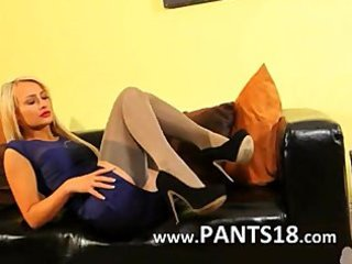 golden-haired in incredible nylon hose