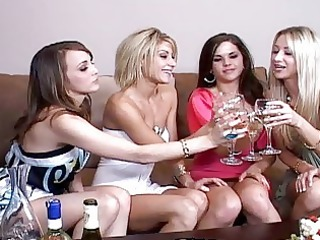 Classy hot babes gets drunk and start licking and