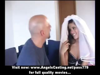 outstanding brunette hair bride does oral for