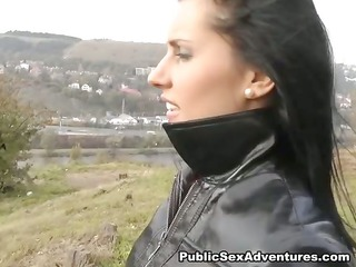 outdoor fuck with a naughty brunette hair