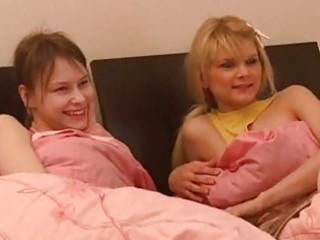 juvenile lesbian babes share a shlong