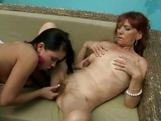 curly granny enjoys lesbo sex with legal age