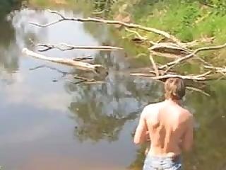 skinny playgirl wathes half stripped chap fishing