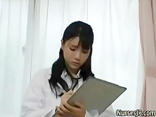 oriental woman doctor visiting patient