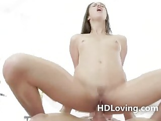 diminutive taut brunette hair slit fucked hard by