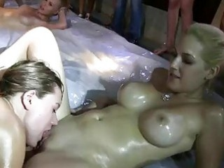 group of beauties lesact in a darksome warehouse