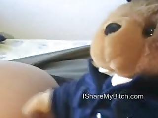 teddy bear sharing his bitch. have a fun