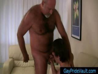 old homosexual bear getting his weenie sucked by