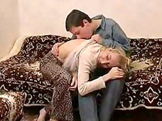 skinny russian aged lady fucking with a guy
