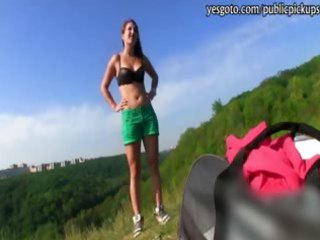 czech gal positions and drilled in public in swap