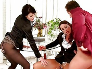 darksome haired chicks in hose having some with