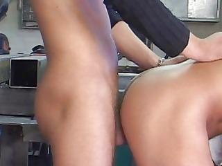 student three-some enjoying sex in workshop