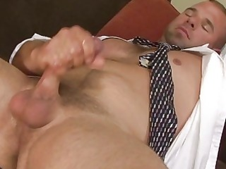 lustful office chap realaxing wanking his his rod