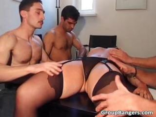 non-professional gang group sex party with trio